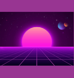 neon cyberpunk futuristic landscape sci-fi vector image