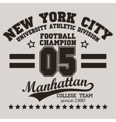 New York City Typography football t-shirt vector image