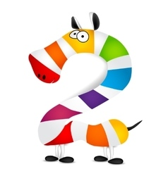 Number two Made of colorful animal cartoon vector image