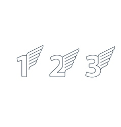 Numbers thin lines set of icons with wings vector