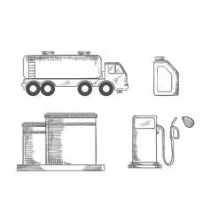 Oil industry and transportation sketched icons vector
