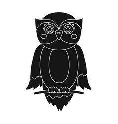owl single icon in black styleowl symbol vector image