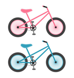 Pink and blue bicycles for kids isolated on a vector