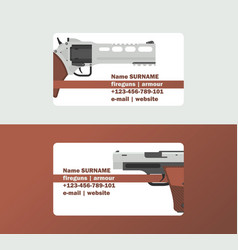 pistols business card western gun cowboys retro vector image
