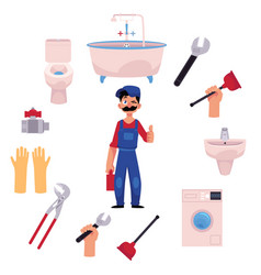Plumber man thumbs up plumbing tools vector