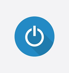 power on Flat Blue Simple Icon with long shadow vector image