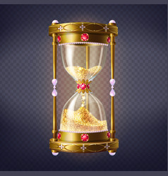 precious sand clock with golden sand vector image