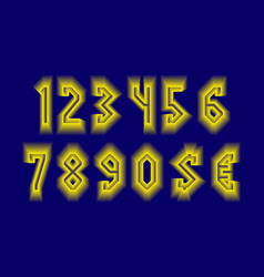 Radiant numbers and currency signs with yellow vector