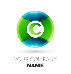 Realistic letter c logo symbol in colorful circle vector