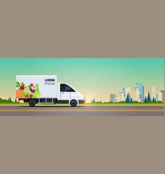 Realistic van with organic vegetables on city vector