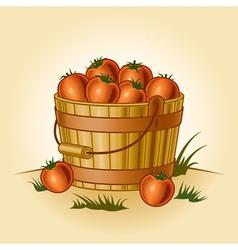 Retro bucket of tomatoes vector