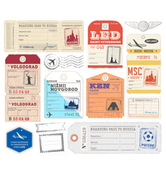 Russian luggage tags vector