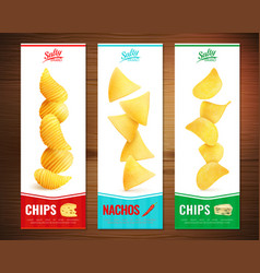 Salty chips vertical banners vector