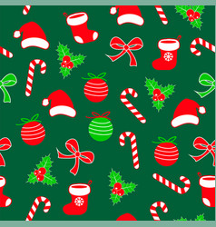 Seamless christmas pattern with lolipop candy vector