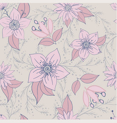 seamless pattern with color flower romantic vector image