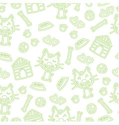 seamless pattern with dogs and accessories hand vector image