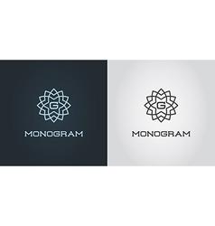 Set compact monogram design template vector