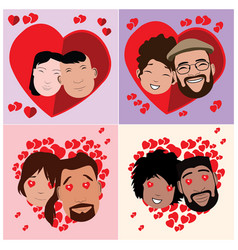 set in-love characters vector image
