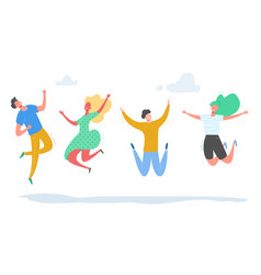 set young people jumping on white background vector image