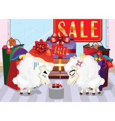 Sheeps on Shopping vector image