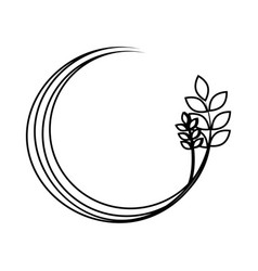 Silhouette medium circular border with branch and vector