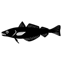 Silhouette of whiting fish vector image