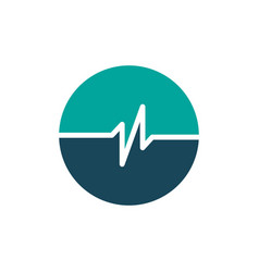 simple pulse circle logo template simple healht vector image