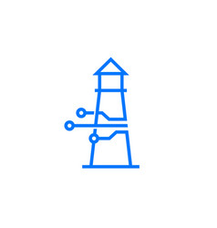 smart lighthouse tech logo icon vector image