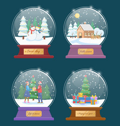 snow globes set with xmas winter landscapes vector image