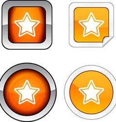Star button set vector image