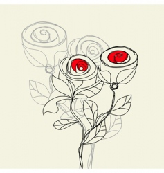 Stylized rose flowers vector