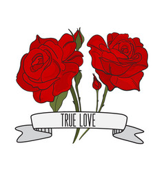 text true love with red roses print tattoo vector image