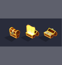 treasure chest open and closed antique boxes vector image