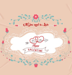 Valentines day frames and floral ornaments vector