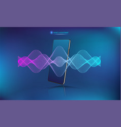 Voice assistant sound wave with smartphone mockup vector