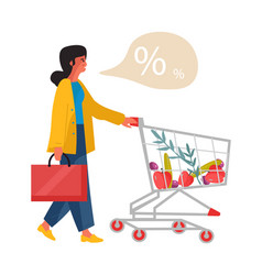 Woman with shop cart girl in supermarket looking vector