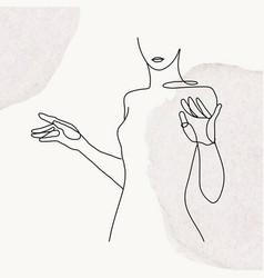 Womanrsquos upper body line art on gray pastel vector