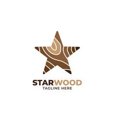 Wood star logo design template vector