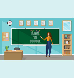 young female teacher in a classroom vector image