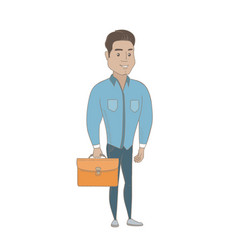 young hispanic businessman holding briefcase vector image