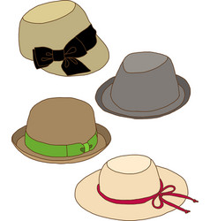 Collage of Fashion lady hat vector image vector image