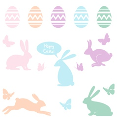 Easter bunnies and eggs set vector image vector image
