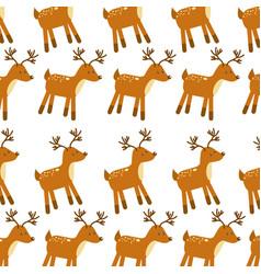 forest deer animal wildlife seamless pattern image vector image