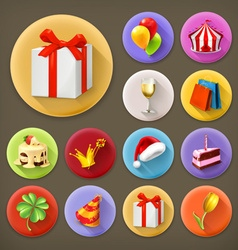 Holiday and gifts long shadow icon set vector image vector image