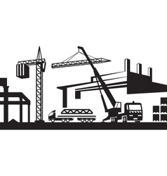 Installing crane on construction site vector image vector image