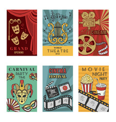 posters design set with theatre and cinema symbols vector image