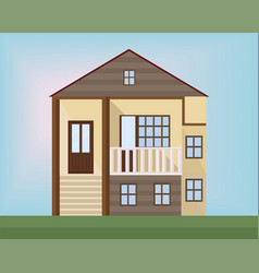 small wood house facade flat style vector image vector image
