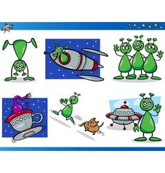 Aliens or Martians Cartoon Characters Set vector image vector image