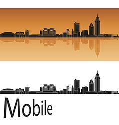 Mobile skyline in orange background vector image vector image