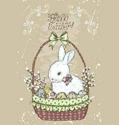old card with easter rabbit vector image vector image